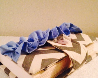 Beautiful Chevron on Baby Blue Bible Cover with Ruffles