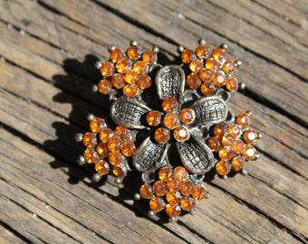 Vintage Orange Rhinestone Brooch, Orange Flower Brooch - Rhinestone Pin Halloween Brooch Round Brooch