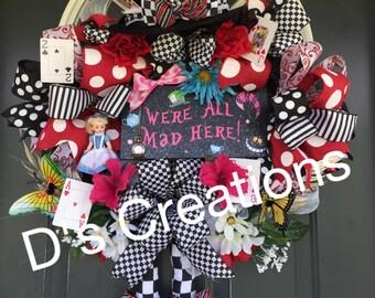 Alice in Wonderland Were mad Around here wreath