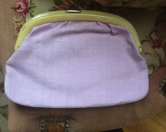 Shabby Chic lilac Lucite fabric clutch