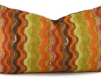 Orange, Brown, Gold, Beige and Red Chevron Lumbar Throw Pillow Cover, 12x20