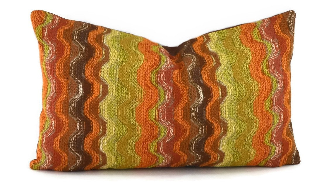 Red Brown Beige Throw Pillows : Orange Brown Gold Beige and Red Chevron Lumbar Throw Pillow