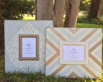 custom modern distressed 5x7 wood picture frames sea salt & vintage metallic gold | damask | wall art | Christmas gift | neutral decor