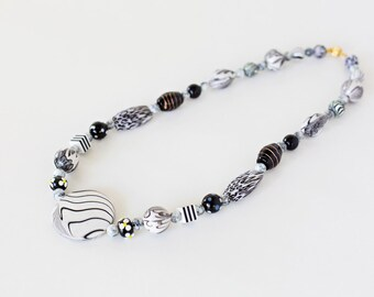 Classic Black and White Necklace  Polymer Clay, Glass & Acrylic Bead Necklace Unique OOAK Designer Necklace