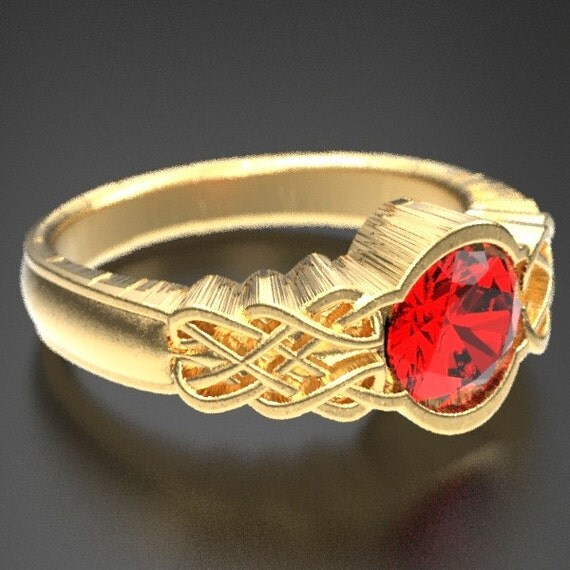 Gold Celtic Ruby With Dara Knot Style Design in 10K 14K 18K or Palladium, Made in Your Size Cr-1032