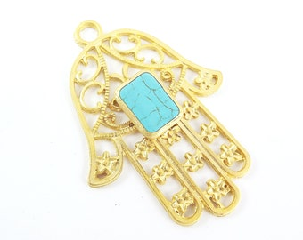 Extra Large Hamsa Hand of Fatima Pendant RectangleTurquoise Stone - 22k Matte Gold Plated - 1PC