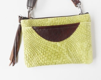 Leather crossbody bag, or leather shoulder bag, in embossed woven look leather.  Leather sling bag.