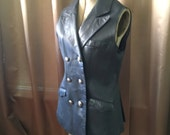 Vintage 1970s Navy Blue Leather Vest Military Long Biker Motorcycle Fitted Grunge Hipster Goth Punk Festival Pocket Dress Jacket Coat S M L