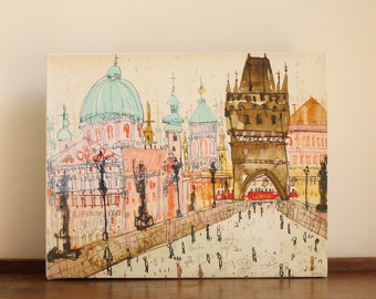 PRAGUE CHARLES BRIDGE, Watercolor Painting, Czech Repulic, Pencil Drawing, City Canvas Print, Mixed Media, 8 x 10 Wall Art Clare Caulfield