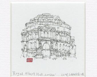 LONDON ART PRINT, Royal Albert Hall, Handmade Original Screenprint, Wall Art London Red Bus England, Signed Hand pulled 2 Color Red & Grey