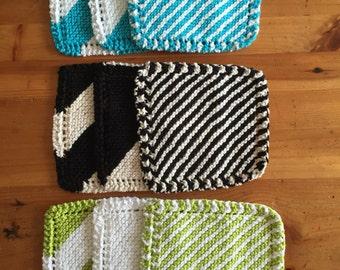 Striped Cotton Washcloths - 3 pack