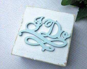 I Do  Country Chic Wedding Ring Box , Personalized Initials & Date wedding Ring Bearer Box , Wedding Decor