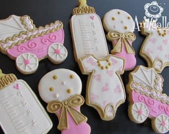Pink and Gold Baby Shower Cookies - 1 dozen