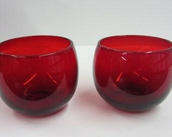 Vintage Ruby Red Glassware Set of 2 Cordials