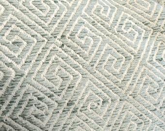 Textured Light Blue, Sea Foam, Aqua and Cream Geometric Greek Key Designer Pillow Cover- Accent Pillow