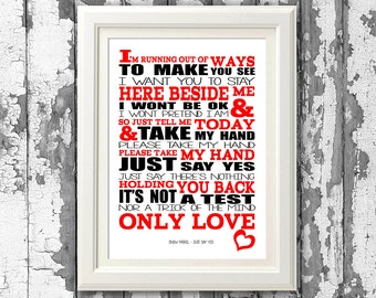 Snow Patrol - Just Say Yes  - Song Lyric Print Typography 8x10 Picture Mount & Prints for self framing (no frame)