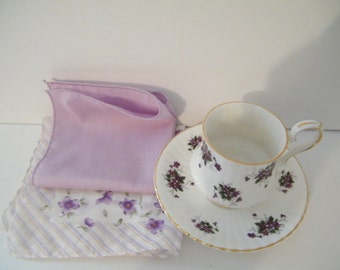 Royal Windsor cup and saucer with 2 Handkerchief gift set, vintage porcelain set with violets floral decor, great for mom or grandmother