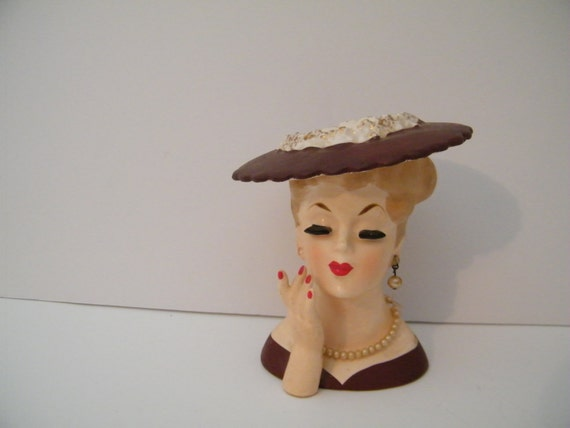 Lady Head Vase Planter Napco 1958 C3343b By