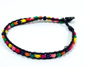 Wood Multicolor Beads Bracelet - Funky Handmade Oldschool Bracelet