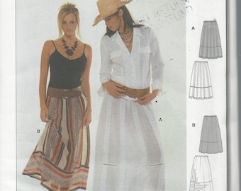 Uncut Burda  8489 - Start 2 Sewing Pattern - HIPPIE STYLE SKIRT - Semi Fitted Skirt - Long Maxi - Sizes 8 - 18 - Very Cute!  Easy.