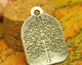 10 Tree Tag Charms, 32x22mm Antique Silver Tree Charms Tag Pendant