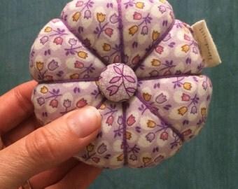 Pin Cushion in Vintage Fabrics with Purple Daisy and Tulip Prints 1940s Fabrics