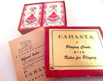 Canasta Playing Cards Vintage 1950 Whitman Publishing Game Cards Two Decks in Original Box with Game Rule Booklet