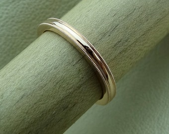 Thin 1.9mm Wide Milgrain Wedding Band 14k Solid Pink Rose Gold