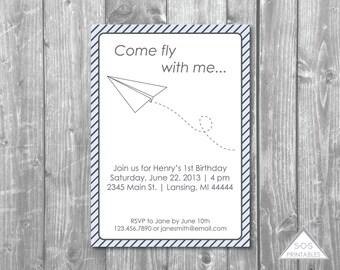Paper Plane Invitation, Paper Airplane Invite, Paper Airplane Party, plane party, printable invitation, boy birthday party invitation, pdf
