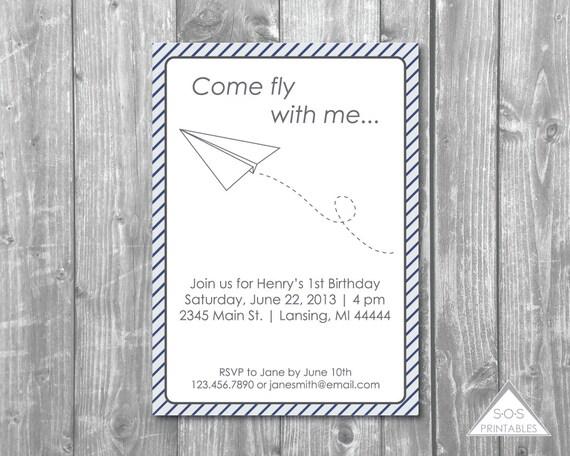 paper plane invitation paper airplane invite paper airplane party plane party printable. Black Bedroom Furniture Sets. Home Design Ideas