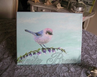 Colorful Bushtit Bird Original Painting – Shipping Included