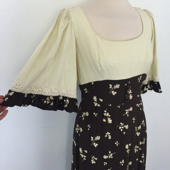 maxi dress prairie folk style cream brown flared sleeves chintzy floral empire line regency style UK 10 12 vintage dress boho hippy