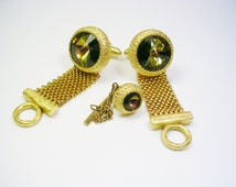 VINTAGE DANTE CUFFLINKS Tie Tack Set * Volcano Rivoli Glass * Mesh Wrap Cuff Links Suit Accessory Formal Wear Men Wedding Jewelry