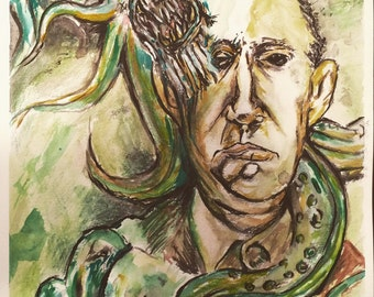 "Hand Painted  H.P. LOVECRAFT Gouache on Heavy Watercolor Paper 9"" x 12"" Horror Art Painting"