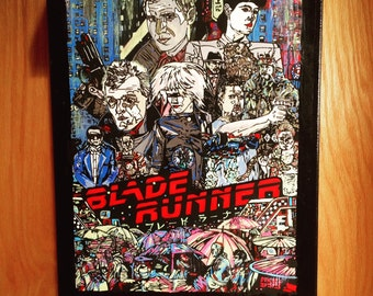 """Hand Painted BLADE RUNNER Acrylic Painting on 12"""" x 16"""" Stretched Canvas"""
