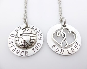 Long Distance Relationship Necklace Set  No Distance Too Great  Gift  LDR  Long Distance Love ldrship going away gift long distance love