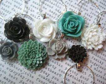 Wine Charms, Set of 8, Sage Green, Gray, Brown and White Party Decor, Wedding Favors, Hostess Gifts, Stocking Stuffer, Small Gift