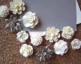 Pretty Thumbtacks, Ivory Push Pins, 12 pcs Pushpins, Ivory and Off White, Bulletin Board Tacks, Ivory Wedding Decor, Gifts, Photo Board Tack