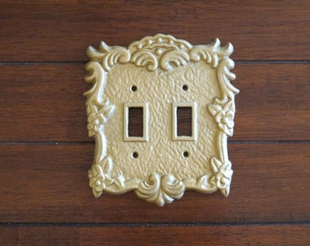 Antique Gold Switch Plate / Double Light Switch Cover / Pick Your Color / Vintage Style / Decorative Cast Iron Metal Light Switch Cover
