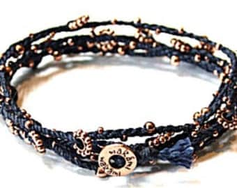 Life is what...Long wrap bracelet Navy with copper