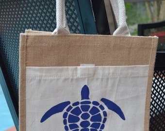 Sea Turtle Navy 100% Jute with front Pocket 12x12