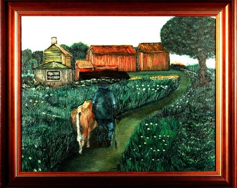 Rare ca.1980 Norway Country Scene Oil Painting/Canvas w/Frame Signed & Titled