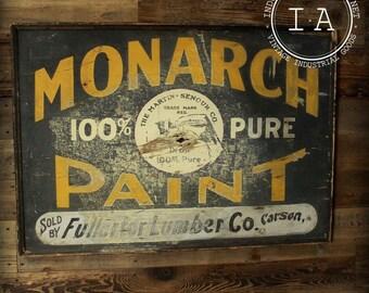 Antique Monarch Paint  Schmaltz painted wood Sign