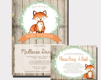 fox baby shower invitation woodland baby shower invitation forest animal baby shower rustic