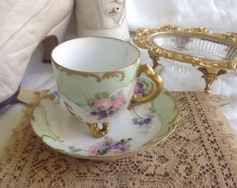 Antique French pink rose hand painted thin porcelain cup and saucer AS IS