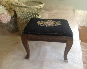 Lovely vintage rose cross stitch covered and embossed wood footstool