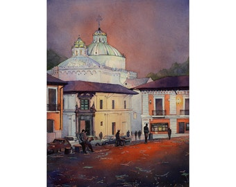 Church & colonial buildings in El Centro of downtown Quito, Ecuador at sunset.  Quito Ecuador watercolor painting.  Church watercolor art