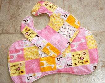 Hand Stitched Baby Bib and Burb Cloth Set- Giraffes