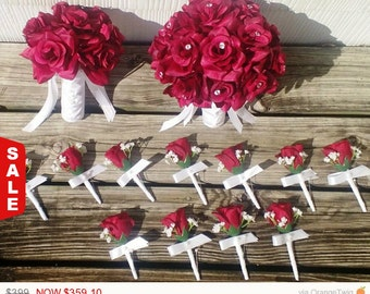 Sale -  17 Piece Wedding Package, 22 Rose Colors, Burgundy Rose Bouquet, Burgundy Bridal Bouquet, Burgundy Corsage, Burgundy Wedding