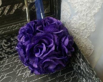 Sale -  Purple Kissing Ball, Purple Flower Ball, Purple Pomander, Purple Flower Girl, Purple Wedding Decorations, Purple Bridesmaid Flowers